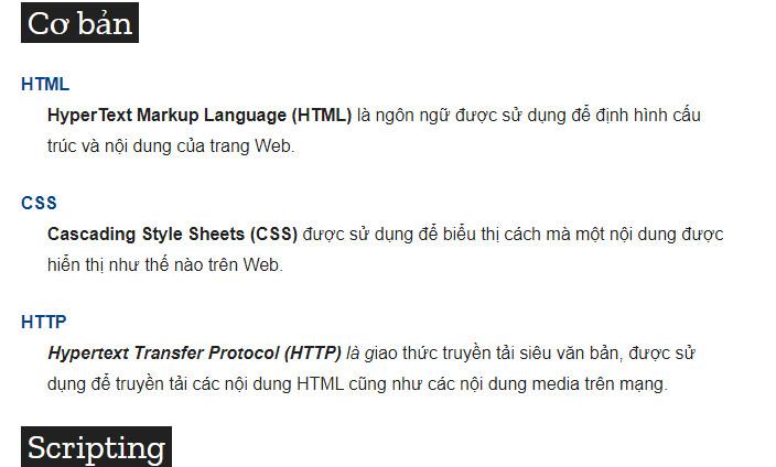 Các công nghệ lập trình Web